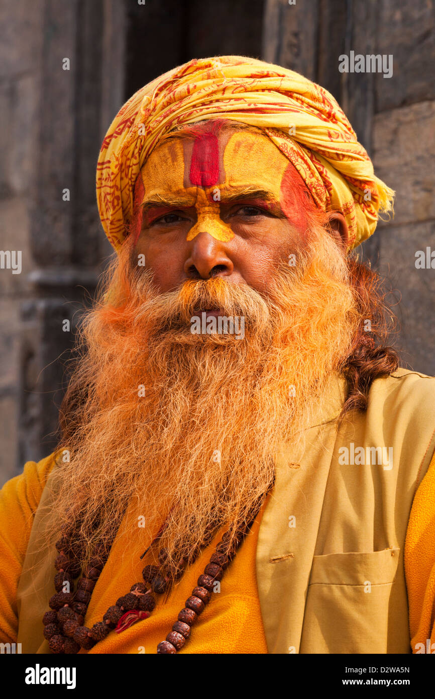Sadhu (holy Men) at the Pashupatinath temple in Kathmandu, Nepal. Stock Photo