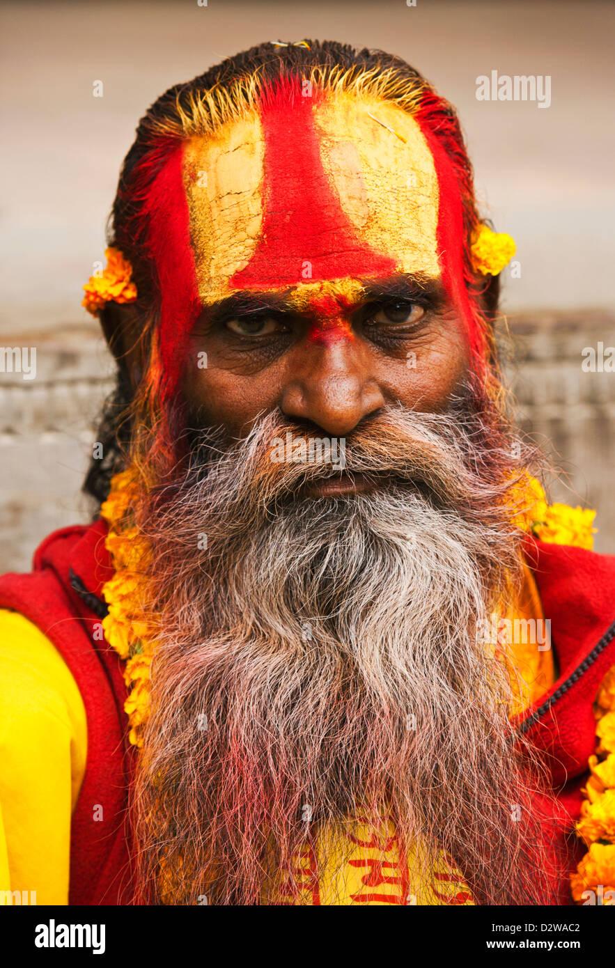 Sadhu (holy Men) at the Pashupatinath temple in Kathmandu, Nepal. - Stock Image