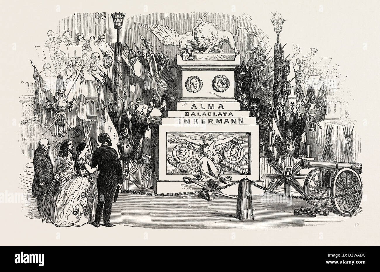 GRAND MILITARY TROPHY AT THE CONCERTS FOR THE BENEFIT OF THE PATRIOTIC FUND IN THE TOWN-HALL BIRMINGHAM 1854 - Stock Image