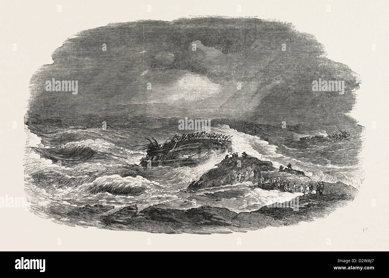 WRECK OF THE TROOP-SHIP CHARLOTTE IN ALGOA BAY 1854 - Stock Image