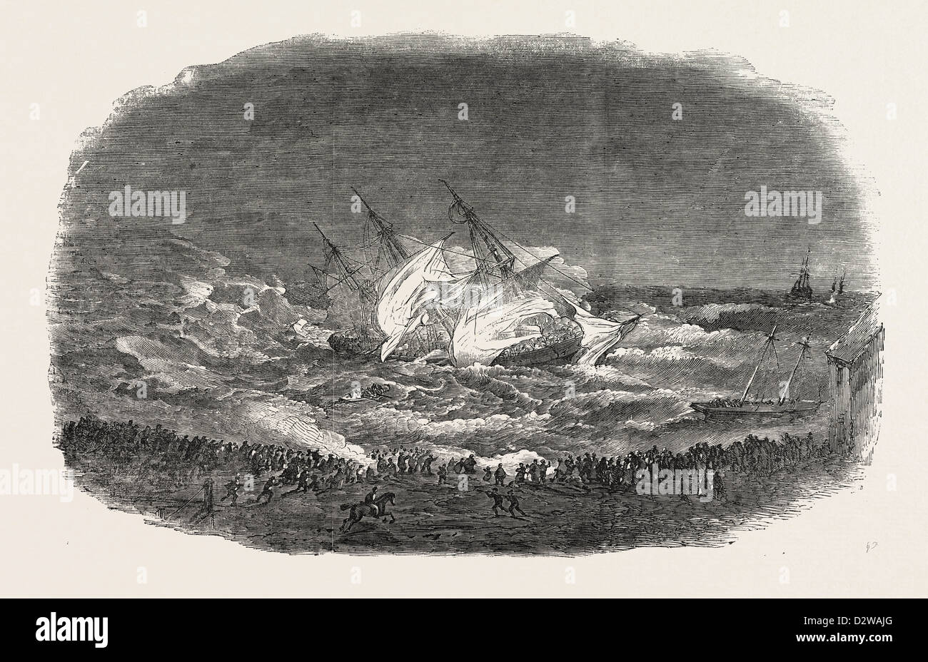 WRECK OF THE TROOP-SHIP CHARLOTTE. ATTEMPT OF THE LIFE-BOAT 1854 - Stock Image