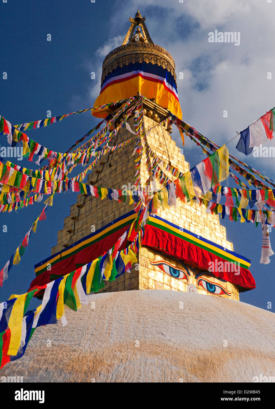 Buddhist stupa of Boudhanath in Kathmandu, Nepal is the largest stupa in the world. - Stock Image
