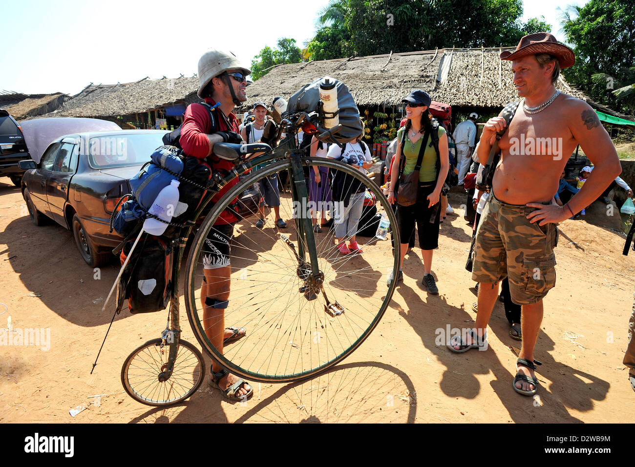 Koh Kong, Cambodia, Briton Joff Summerfield with his unicycle Stock Photo