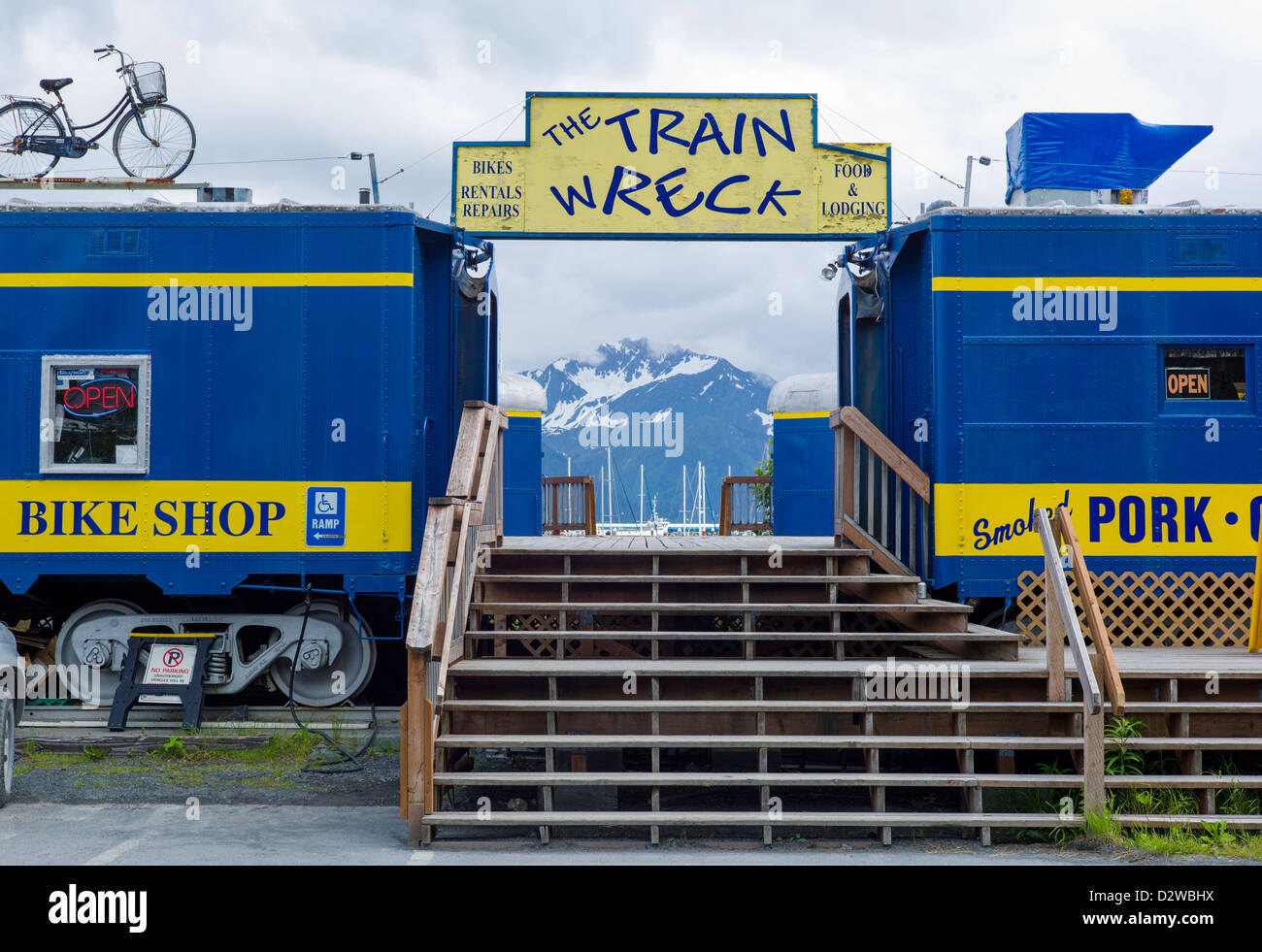 The Train Wreck, collection of refurbished railcars from Alaska