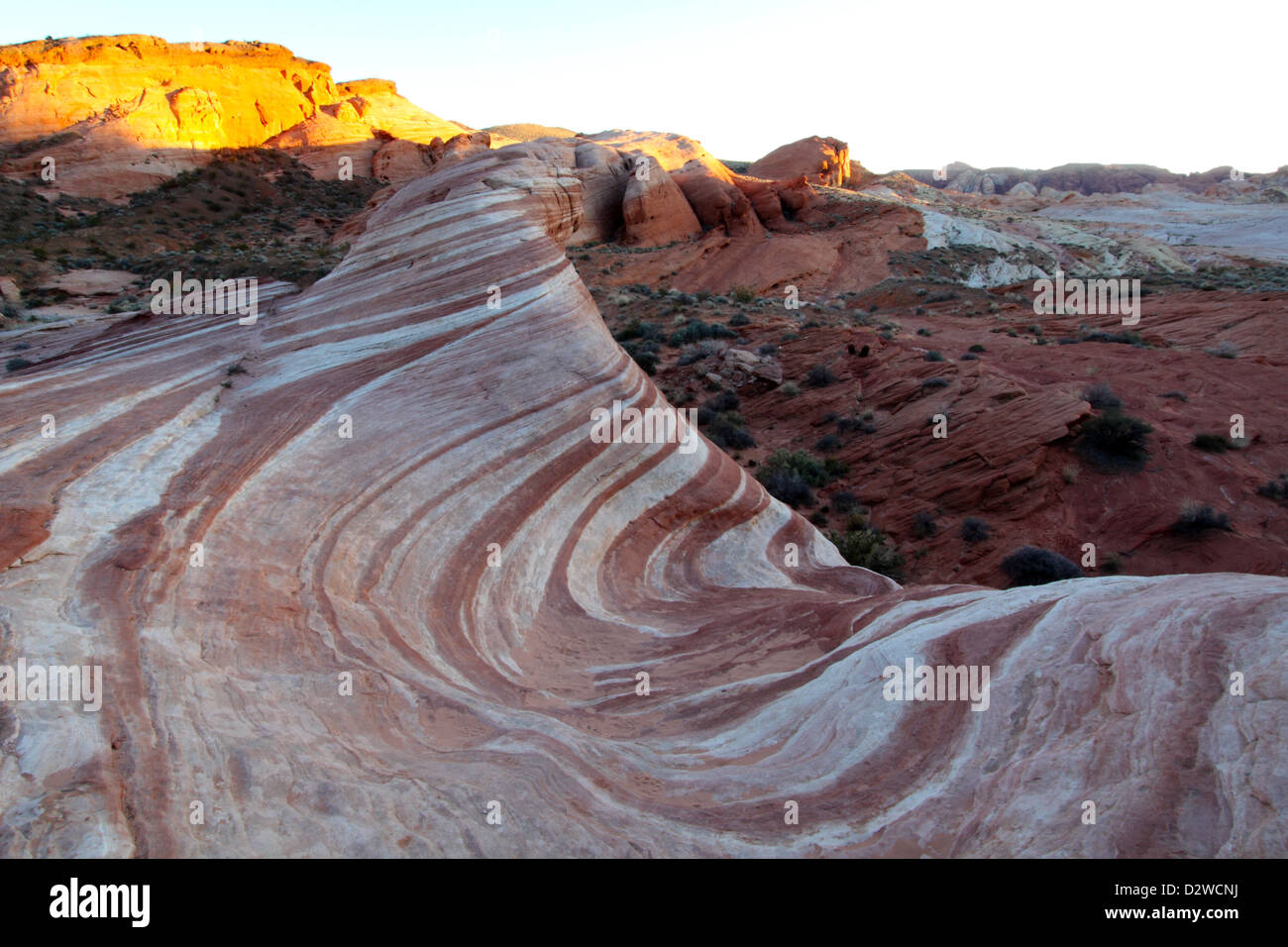 Sunset Over The Fire Wave, Valley Of Fire State Park, Nevada Stock Photo