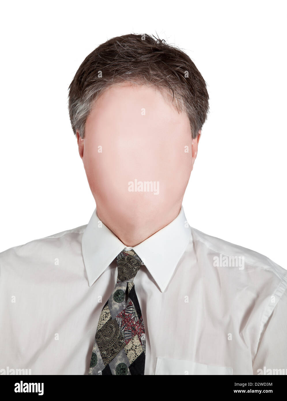 A faceless man shows identity theft as stealing a person's individuality. - Stock Image