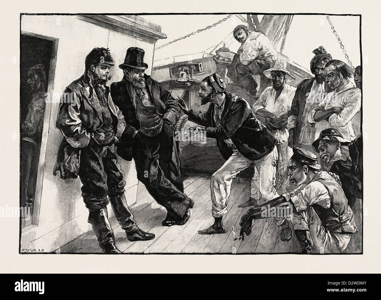 WHILE HE ADDRESSED THE BOATMEN THE OTHERS STOOD DOGGEDLY LOOKING ON: DRAWN BY W.H. OVEREND. - Stock Image