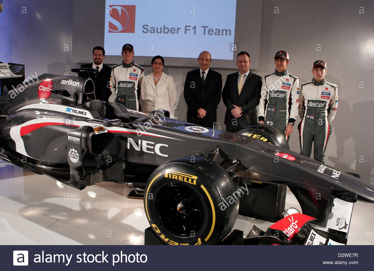 sauber f1 team launches the new sauber c32 ferrari at their factory stock photo 53420411 alamy. Black Bedroom Furniture Sets. Home Design Ideas