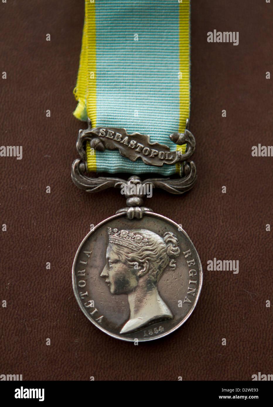 Crimean War Medal with clasp for Sebastopol (original medal), dated 1854 - Stock Image
