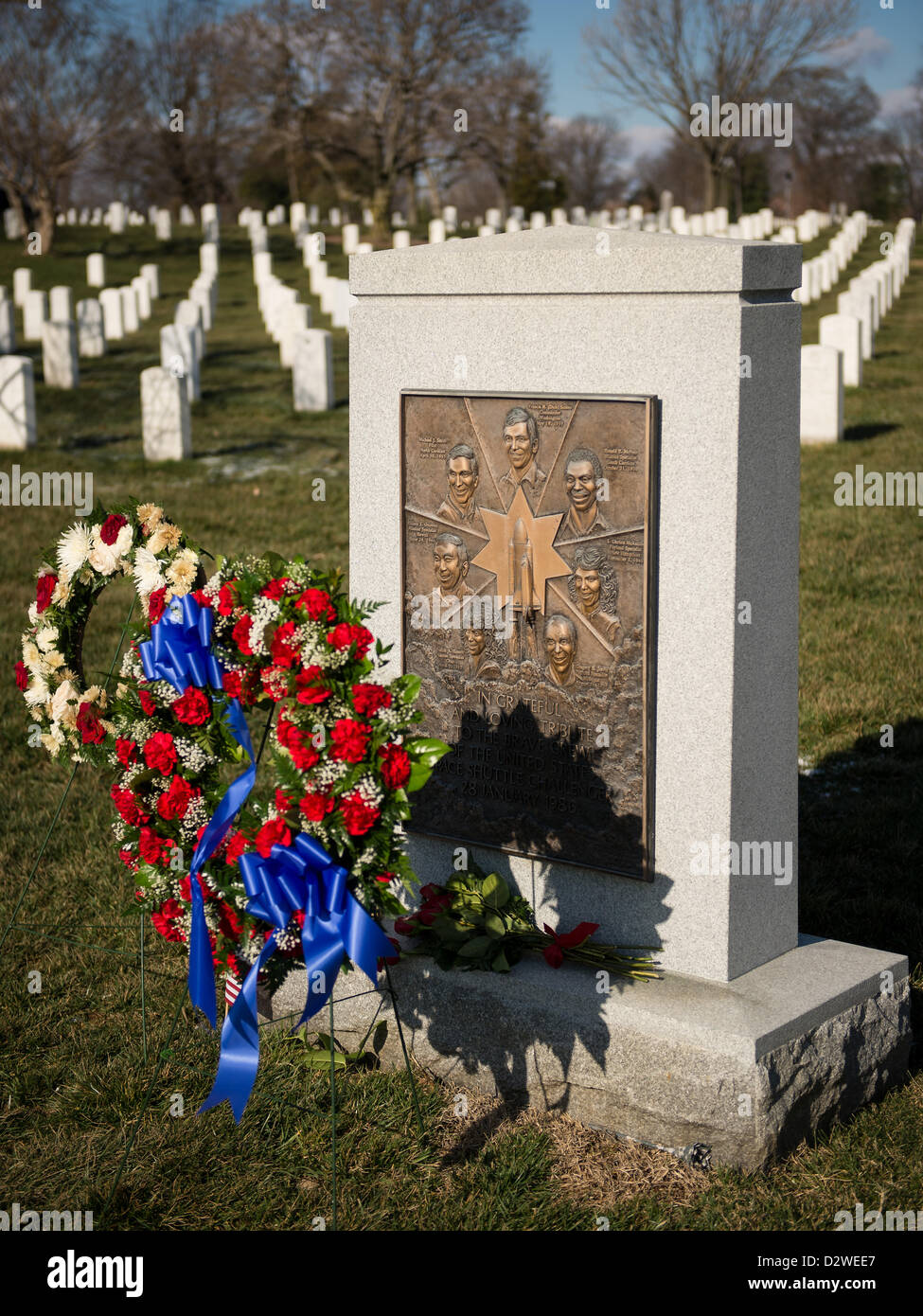 The Space Shuttle Challenger Memorial with a memorial wreath as part of NASA's Day of Remembrance February 1, - Stock Image
