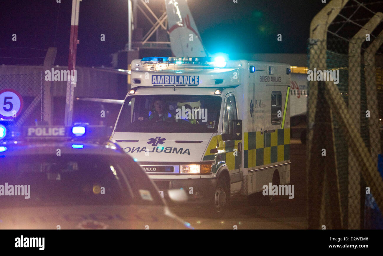 02.08.08. Ben Mullany is transferred from Cardiff International Airport to Morriston Hospital in Swansea by ambulance - Stock Image
