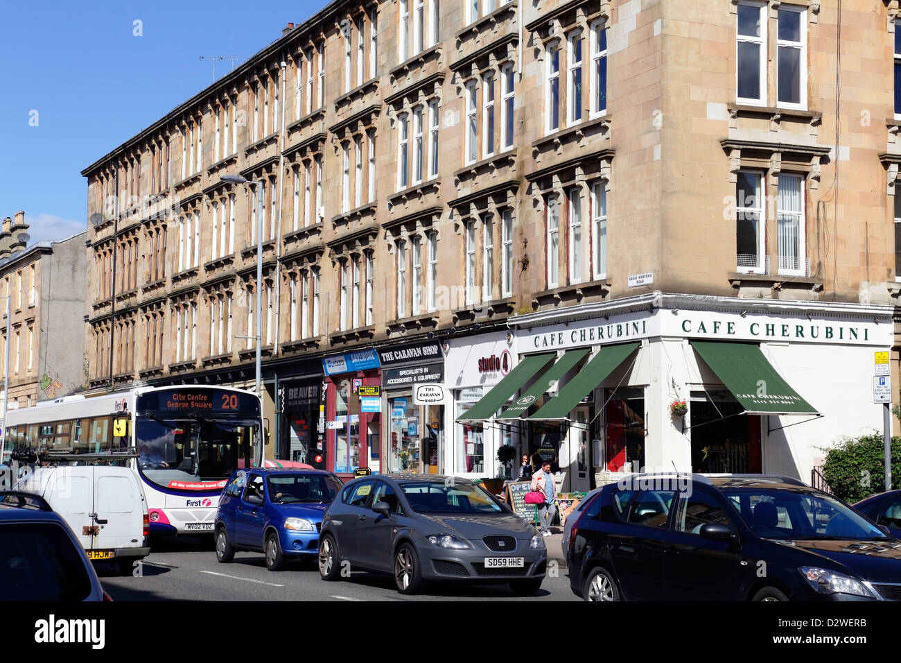Great Western Road in Glasgow, Scotland, UK - Stock Image