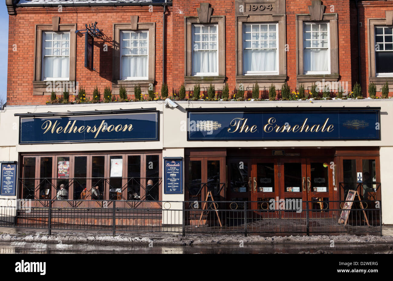 A Wetherspoon public house, The Ernehale in Arnold, Nottingham, England, U.K. - Stock Image