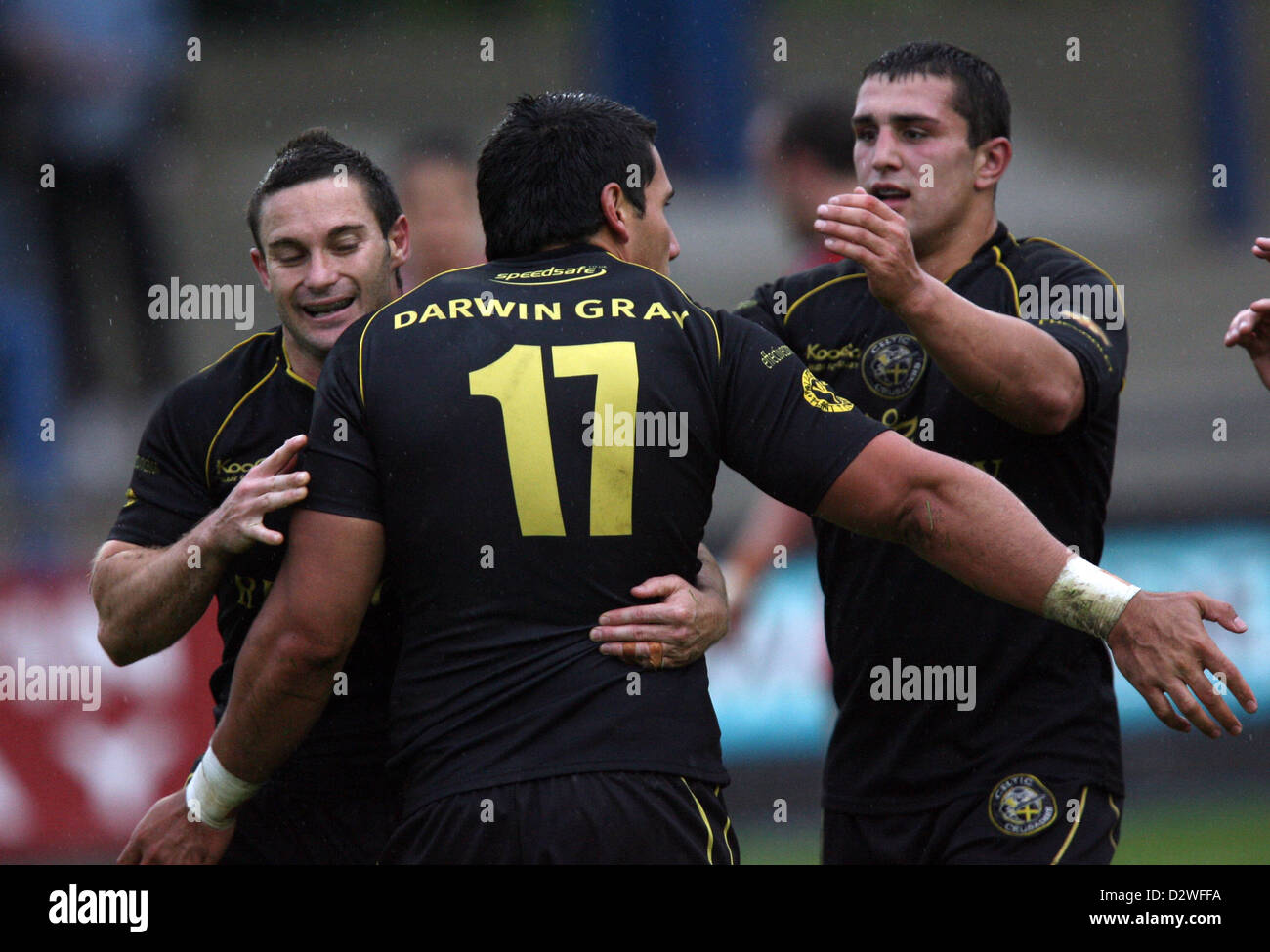 23.08.08. Celtic Crusaders v Salford City Reds Crusaders' David Tangata-Toa celebrates try. - Stock Image