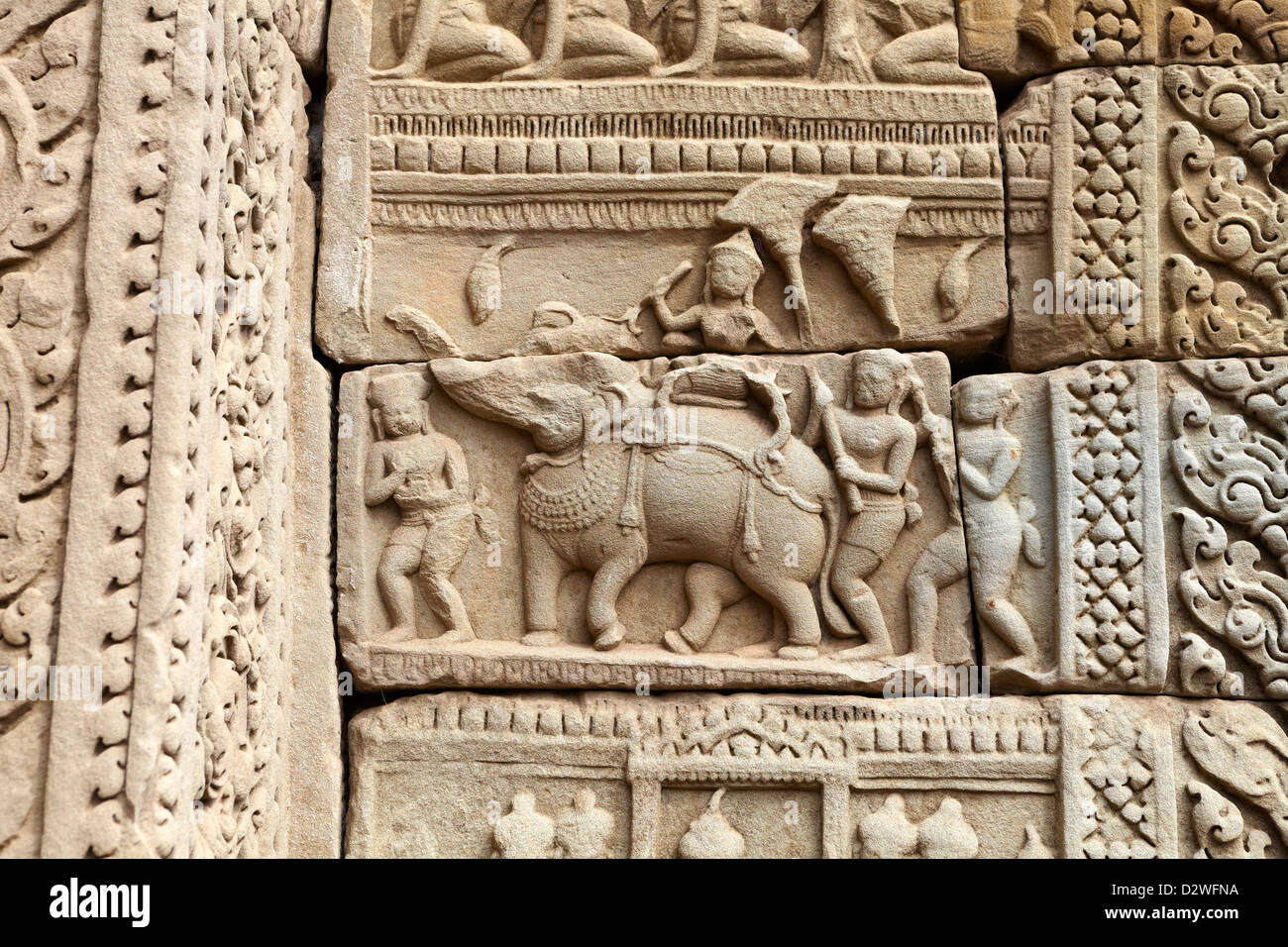 Detail on the wall of Baphuon Temple, Angkor Thom, Cambodia, Asia - Stock Image
