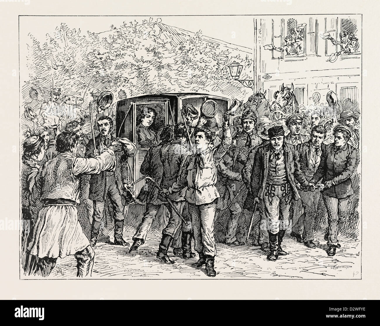 THE EXPULSION OF QUEEN NATALIE FROM SERBIA: THE STUDENTS RESCUING THE QUEEN FROM THE GENDARMES. - Stock Image