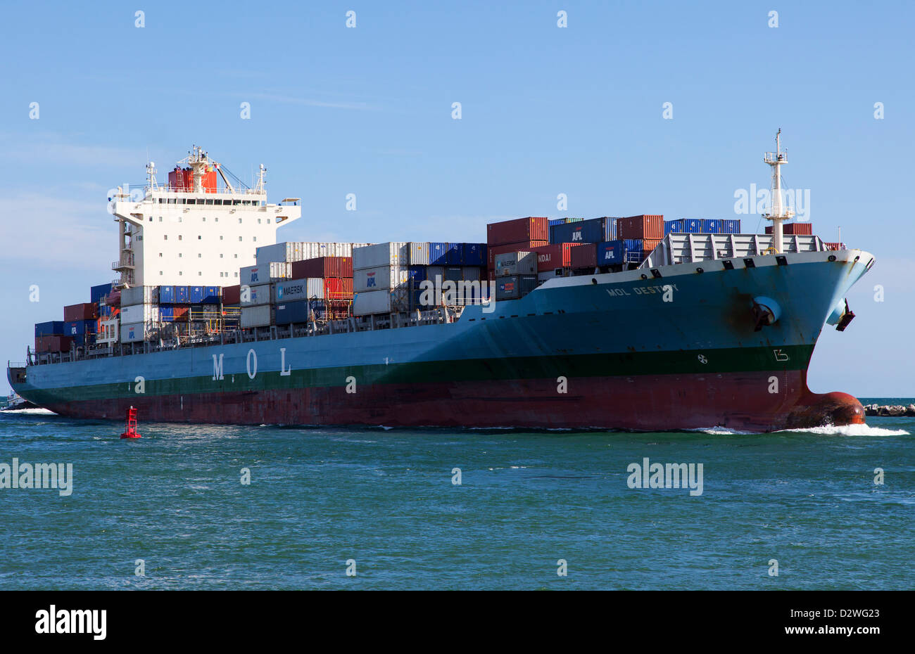 Cargo Ship Arriving in Miami, USA - Stock Image