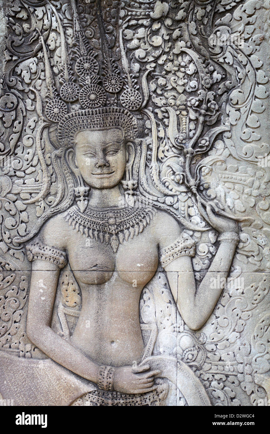 Detail Of Wall Sculpture - Apsara, Angkor Wat Temple, Cambodia, Asia (UNESCO) - Stock Image