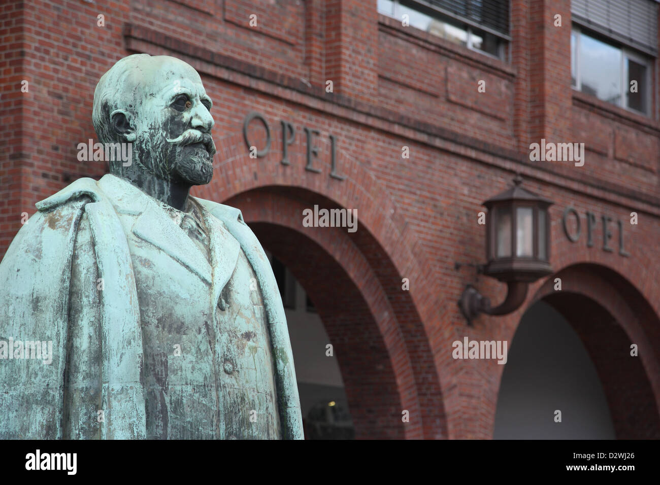 Russelsheim, Germany, Adam Opel statue outside the entrance - Stock Image