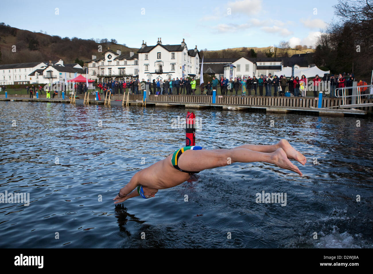 Lake Windemere, Cumbria, UK. 2nd February 2013. Chillswim event in Lake Windermere, Lake District. People compete Stock Photo