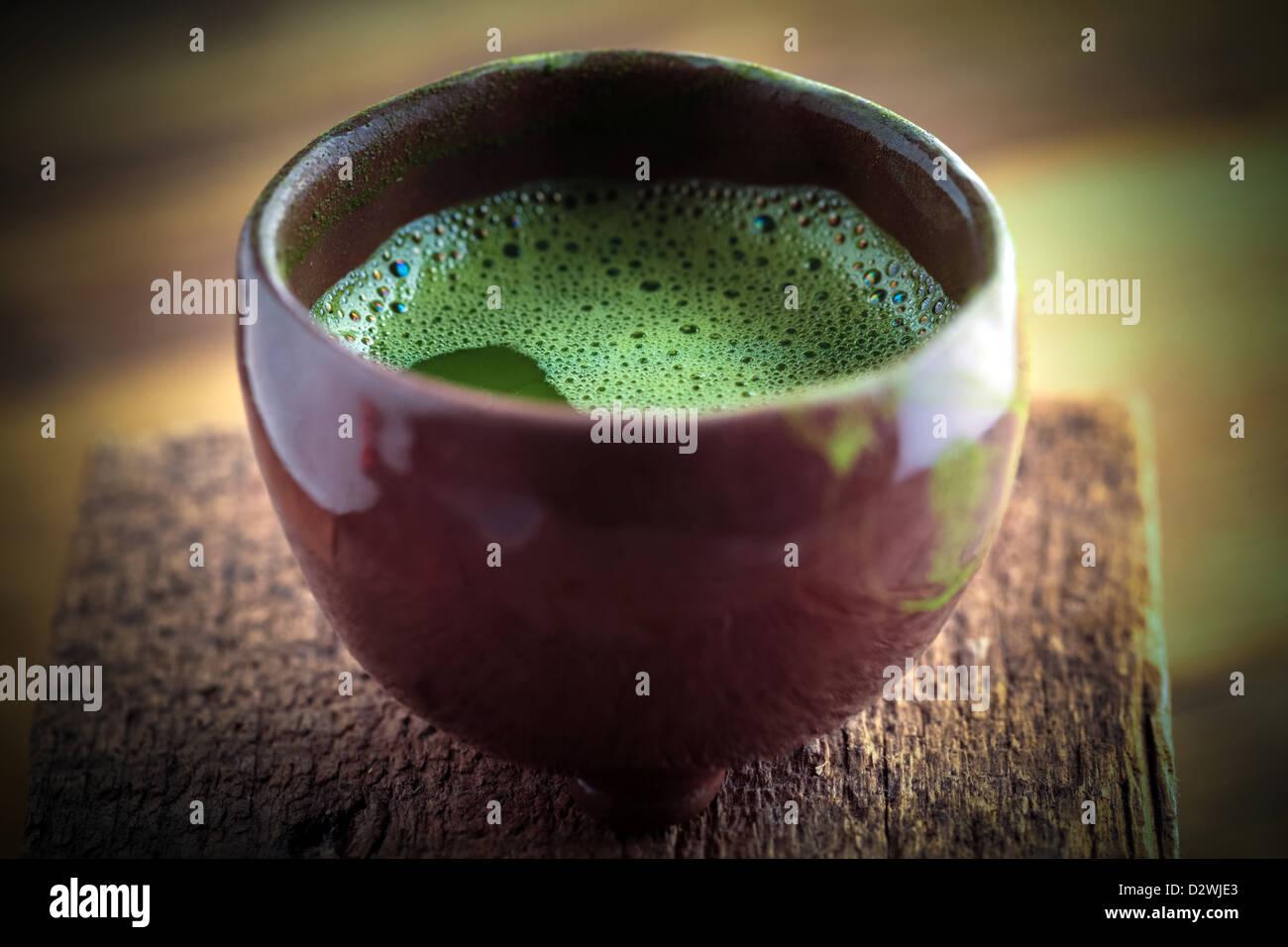Bowl of matcha tea (Green tea) - Stock Image