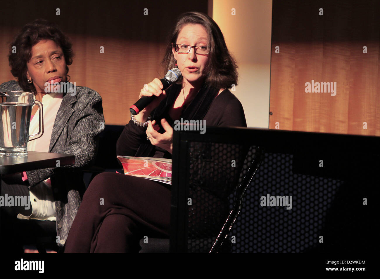 Feb. 2, 2013 - Tuxedo Ridge, NY, U.S. - Composer Susan Botti speaks with Laura Kaminsky and Tania Leon duringThe Stock Photo
