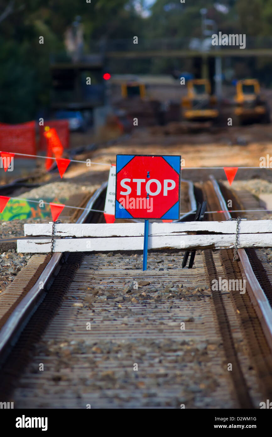 Construction work on the Noarlunga train line in the South Australian city of Adelaide - Stock Image