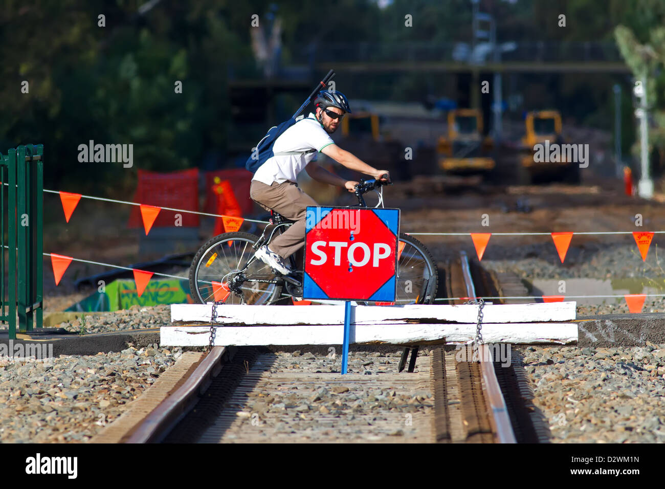 train railway construction stop sign South Australian Adelaide transport transportation - Stock Image