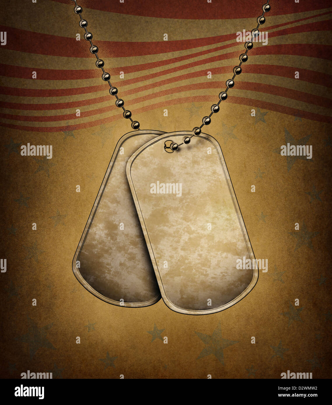 Dog Tags on an old grunge texture with the American flag theme made of blank metal with beaded necklace as a symbol - Stock Image