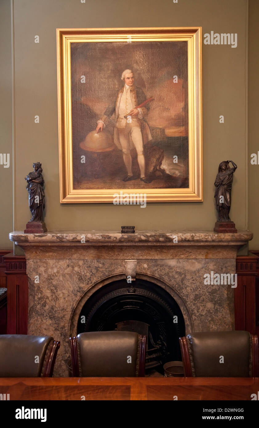 Portrait of Capt James Cook adorns the fireplace of Henry Parkes Office in the Chief Secretaries Building Sydney. - Stock Image
