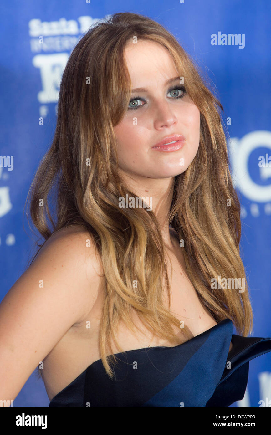 Actress Jennifer Lawrence accepts the Santa Barbara International Film Festival Outstanding Performer of the Year - Stock Image