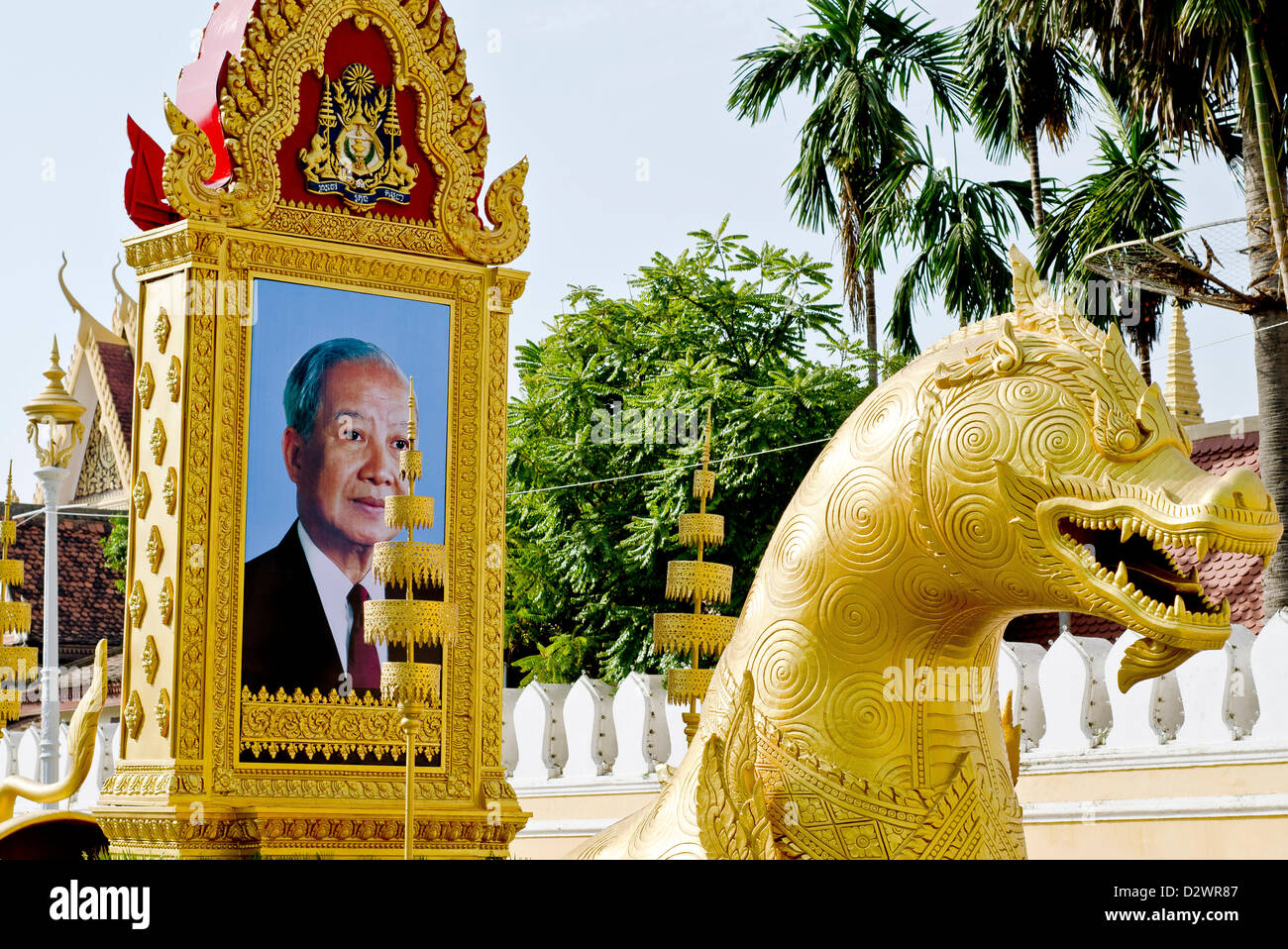 Dragon-shaped vehicle with the portrait of the late King FatherNorodom Sihanouk in front of the Royal Palace,Phnom Stock Photo