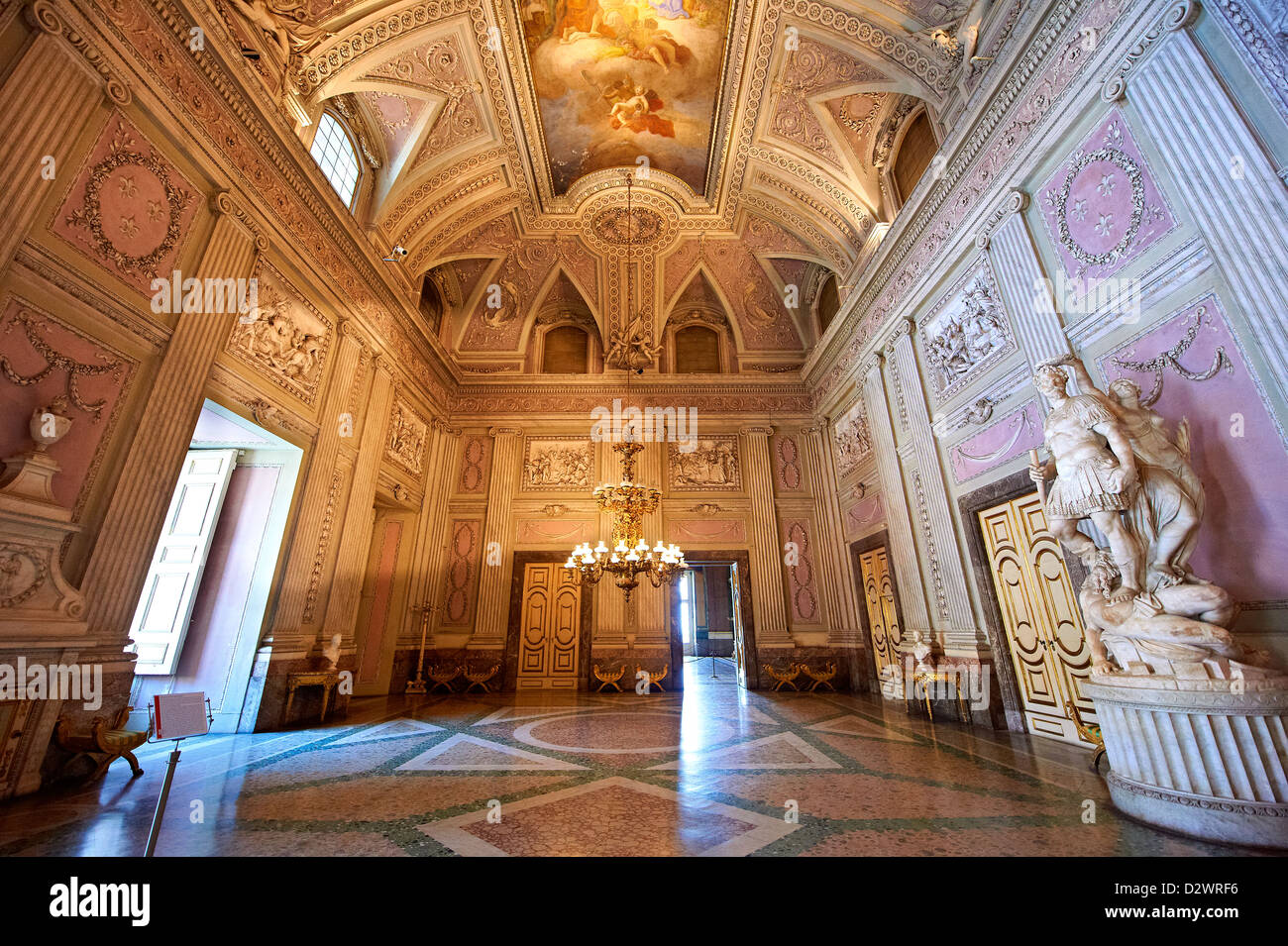 """""""The Room of the Bodyguards""""  Royal Palace of Caserta Italy Stock Photo"""