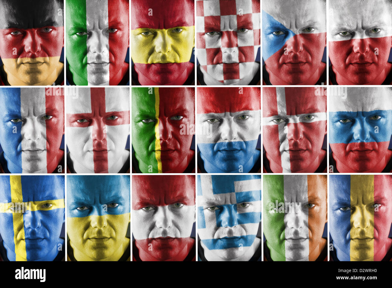 Collage of sport supporter faces painted into major European country national flag colors Stock Photo