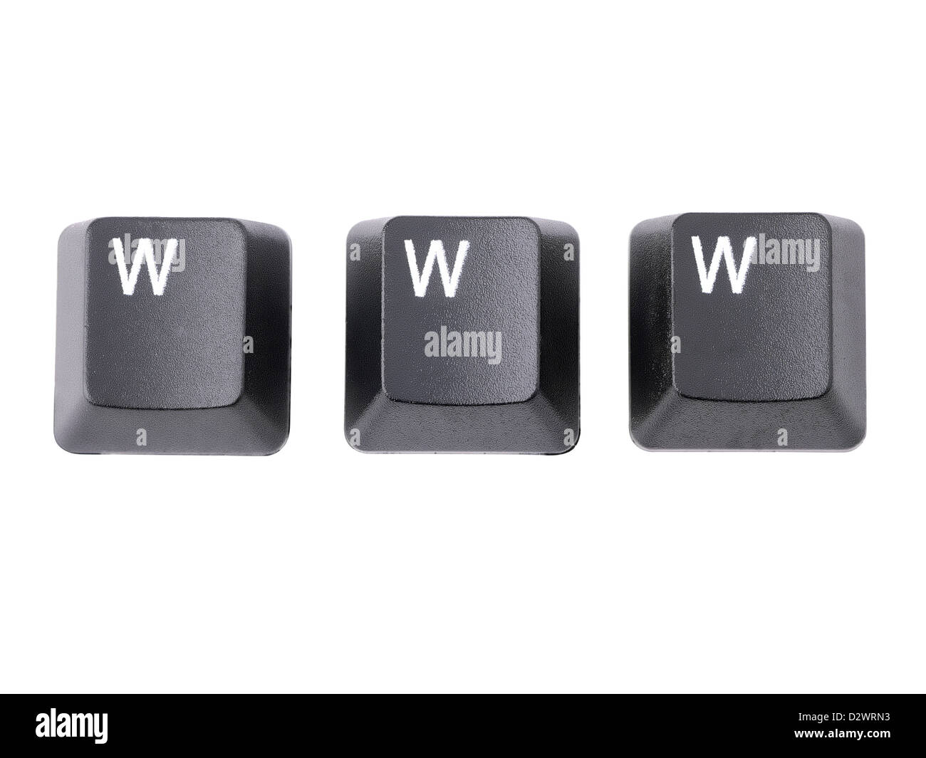 Three black keyboard keys spelling WWW acronym over white background - Stock Image
