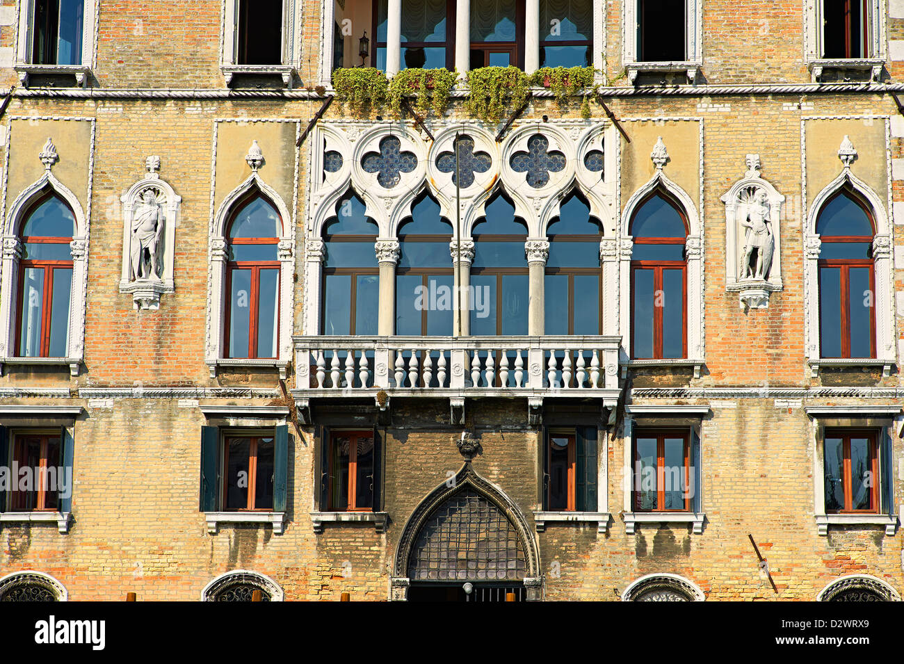 Venetian Gothic Palaces on the Grand Canal Venice - Stock Image