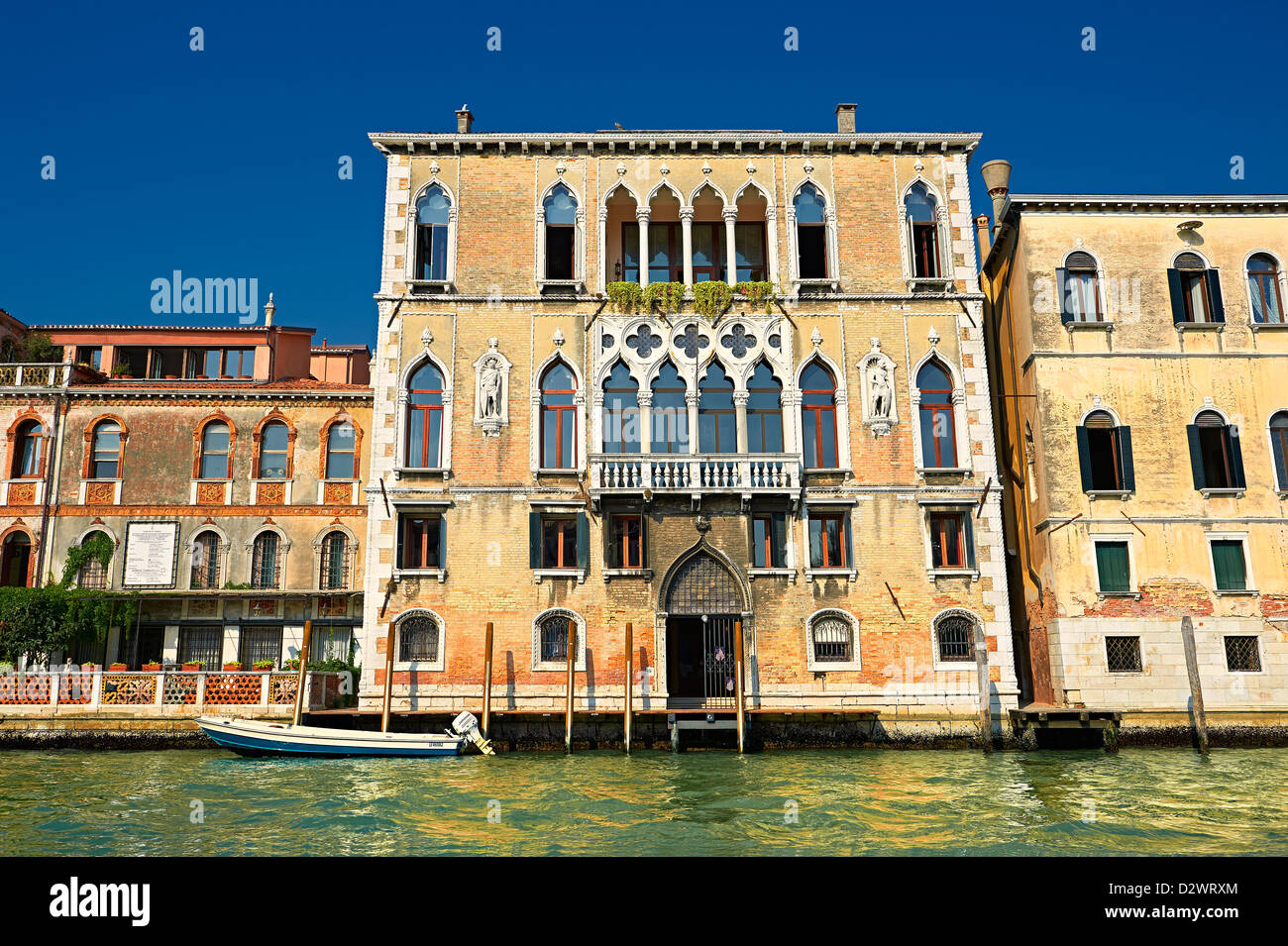 Venetian Gothic Palaces on the Grand Canal Venice Stock Photo
