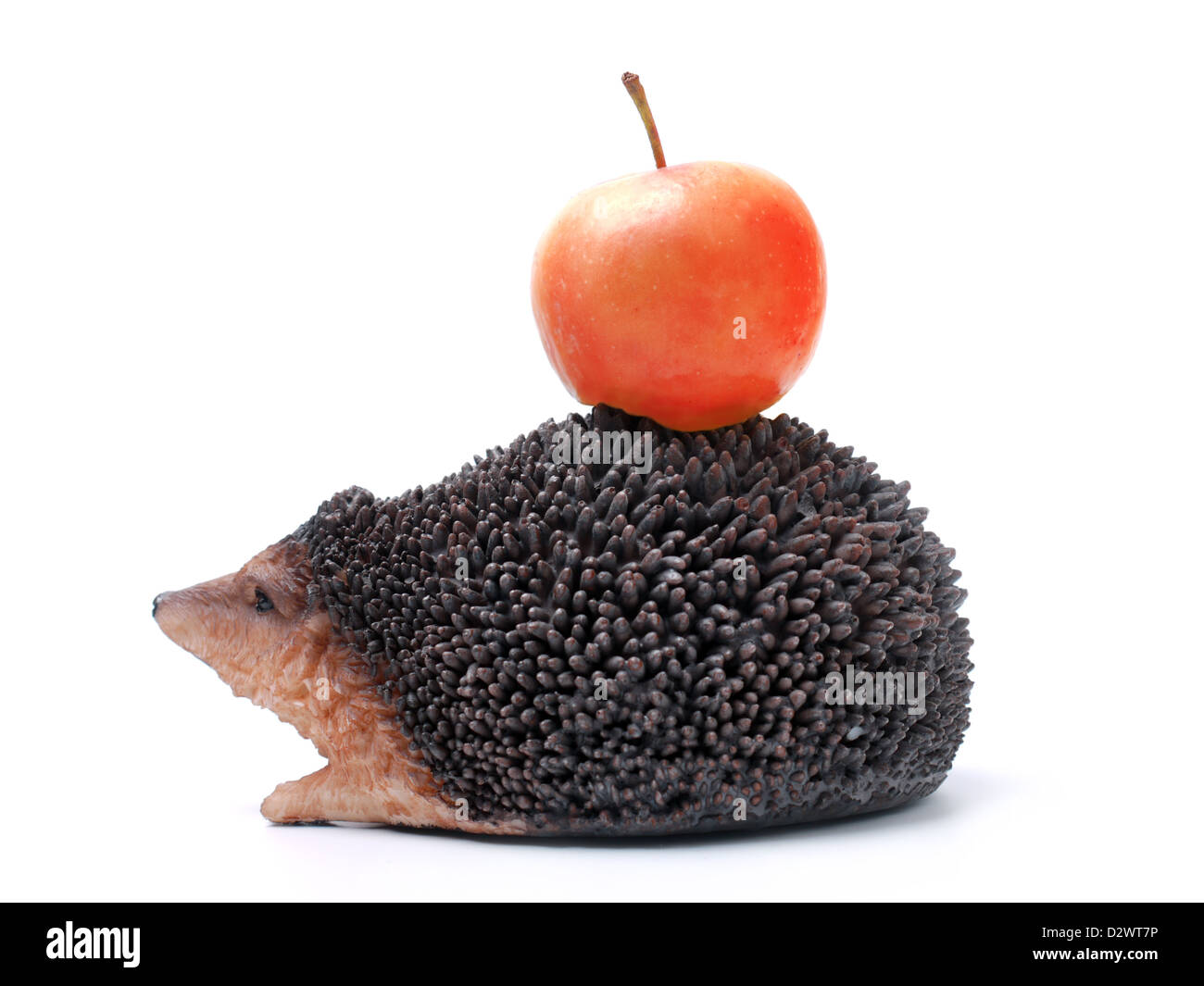 Hedgehog carrying red apple on its back over white background - Stock Image