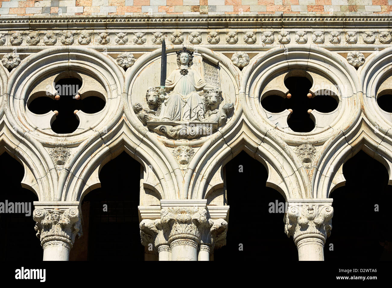 The 14th Century Gothic Style Architectural Details Of Doges Palace On St Marks Square