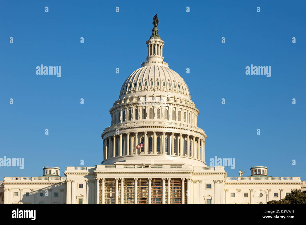 U.S. Capitol Dome Rear Face on Sunny Winter Day with Blue Sky and Copy Space - Stock Image