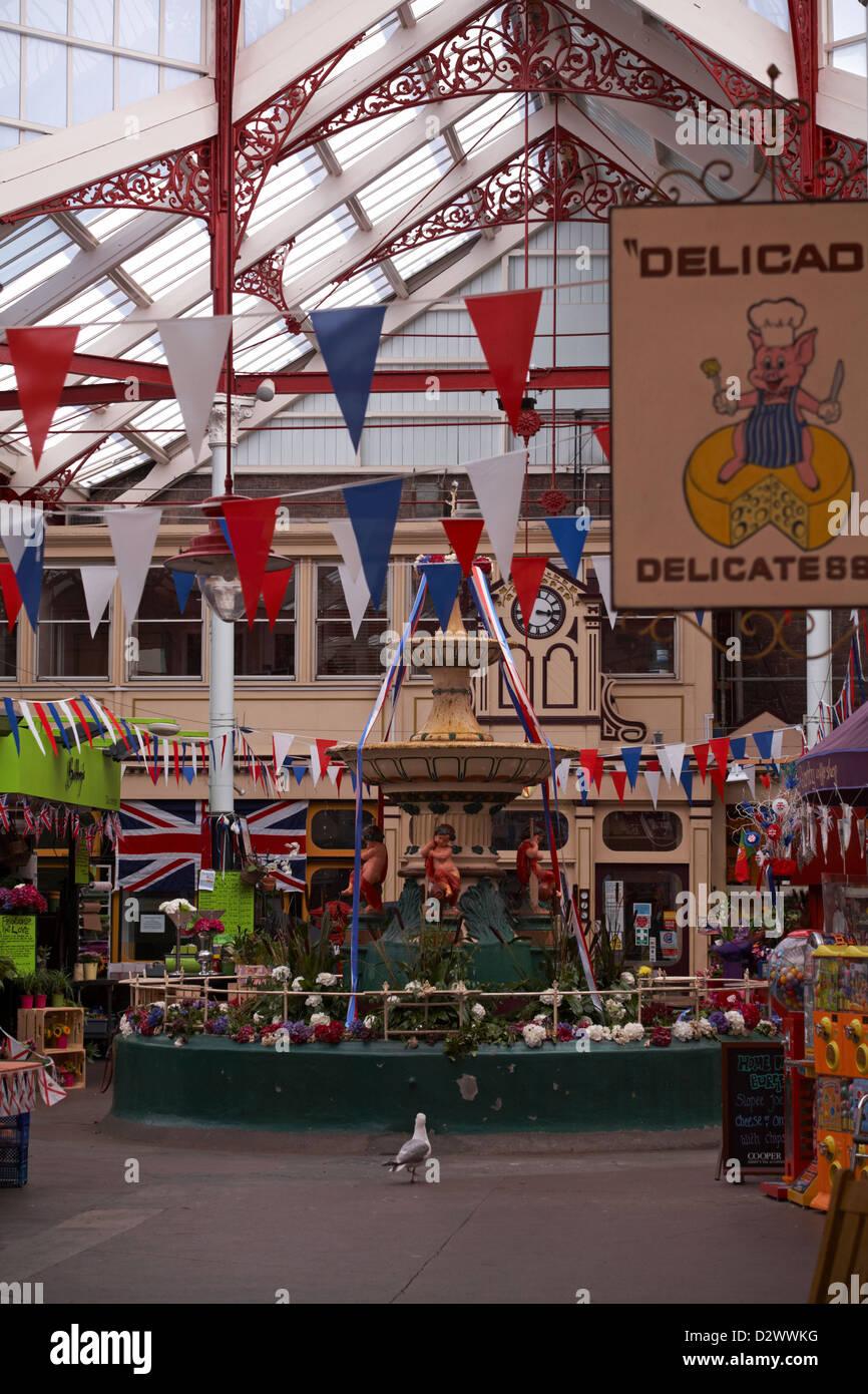 market St Helier, Jersey in July - Stock Image