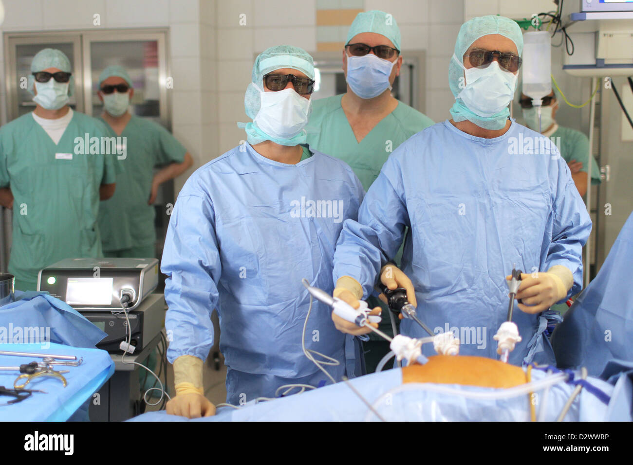 Flensburg, Germany, physicians operate in the 3D process Stock Photo