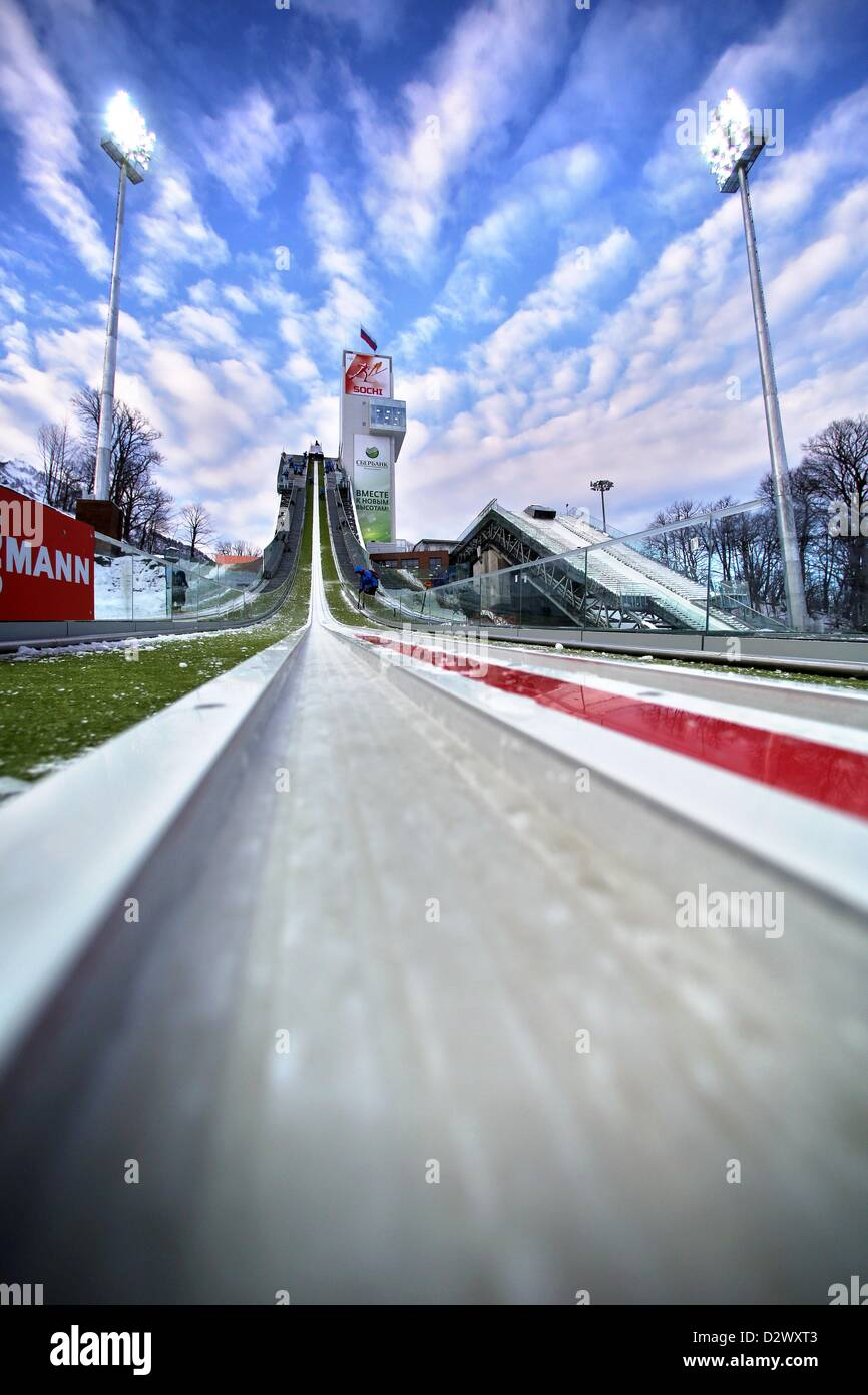 The ski jump is prepared for the FIS Nordic Combined World Cup at the skiing area RusSki in Krasnaya Polyana near - Stock Image