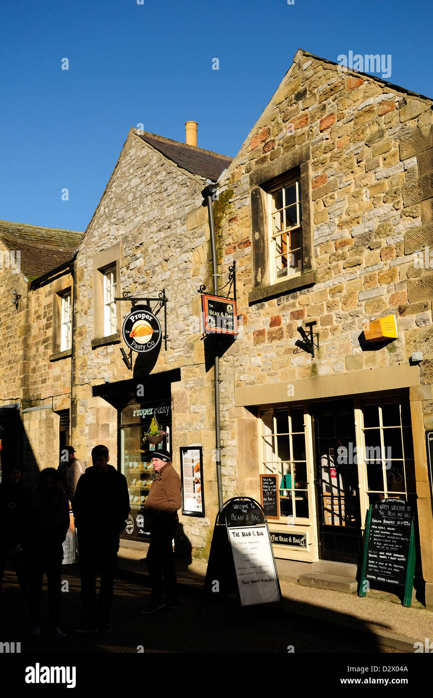 Bakewell Market Town Peak District Derbyshire.The Proper Pasty company and The Bean Bag Café. - Stock Image