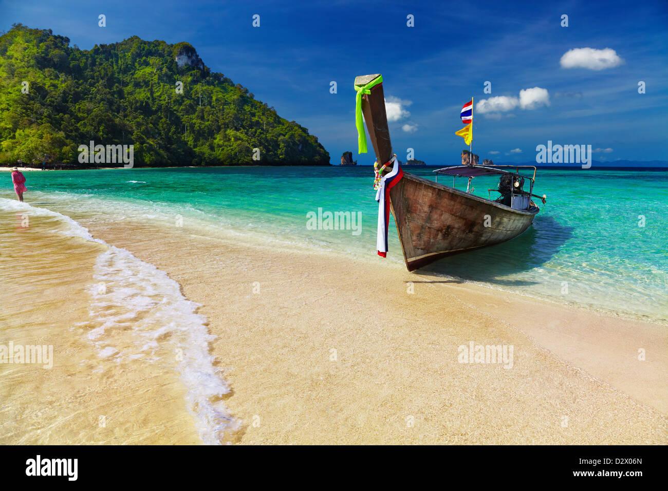 Longtail boat, Tropical beach, Tub Island, Andaman Sea, Thailand - Stock Image