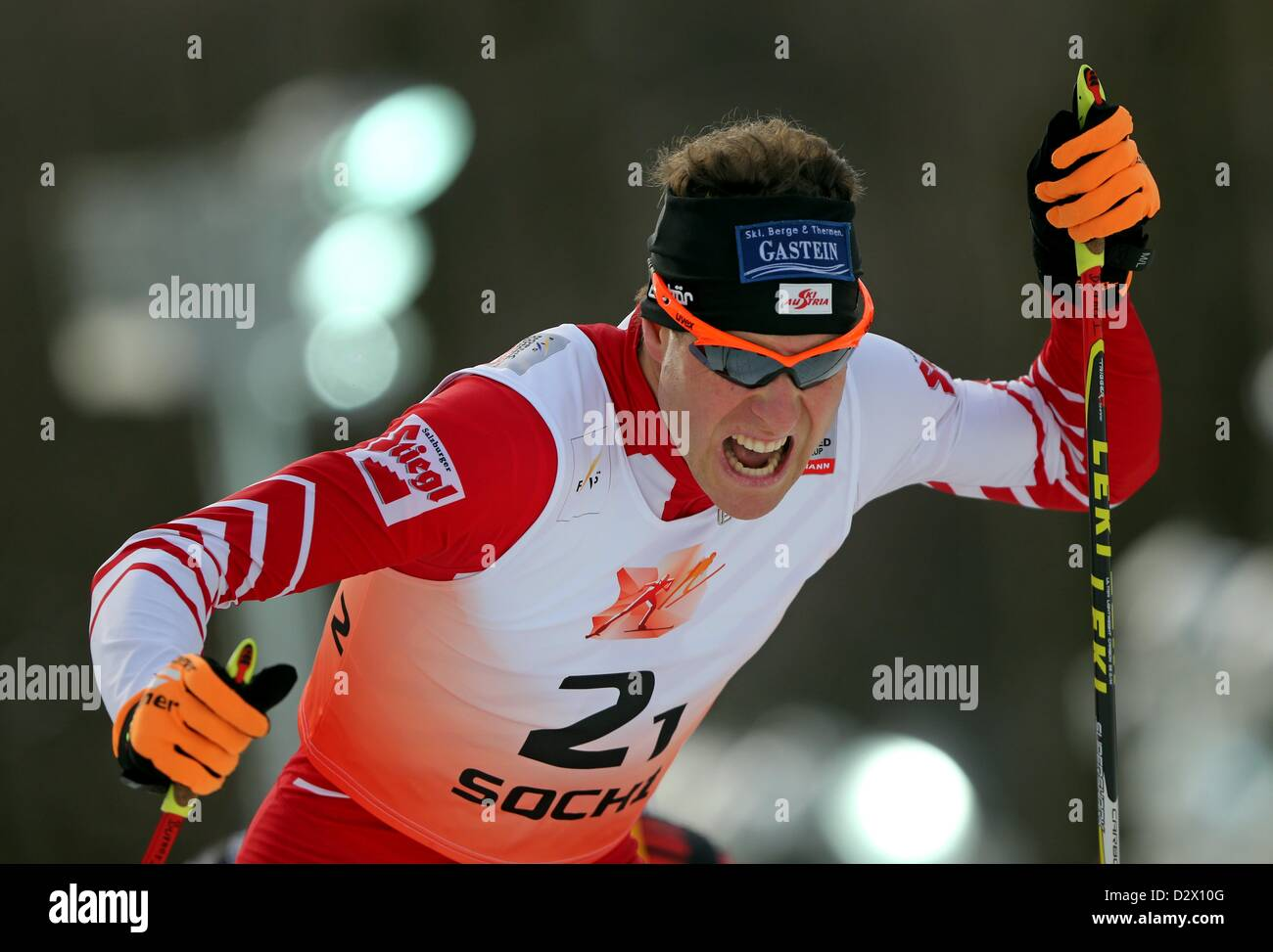 Austria's Bernhard Gruber in action during the FIS Nordic Combined World Cup at the skiing area RusSki in Krasnaya - Stock Image