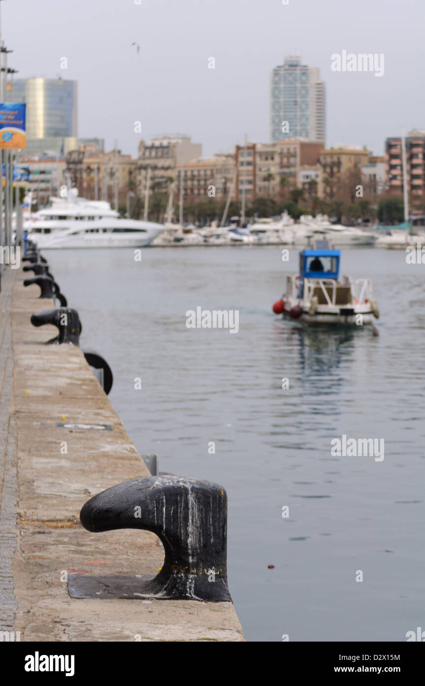 View of Commercial Dock in Barcelona. Spain. - Stock Image