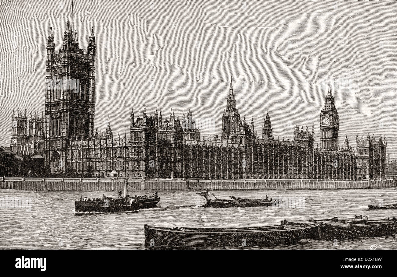 Palace of Westminster, The New Houses of Parliament, City of Westminster, London, England, designed by Charles Barry. - Stock Image