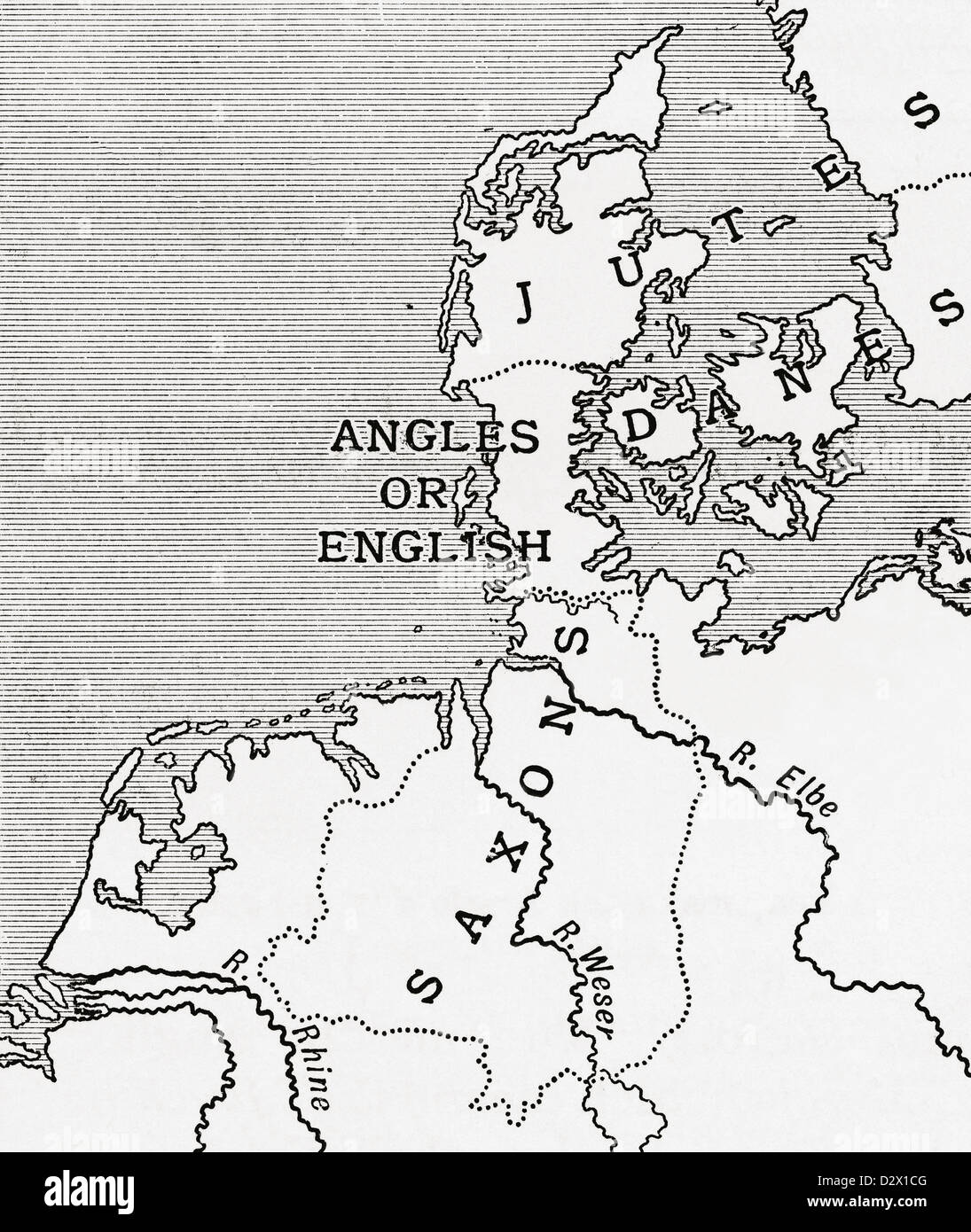 Map showing the old homes of the English in the 5th century. From A First Book of British History published 1925. - Stock Image