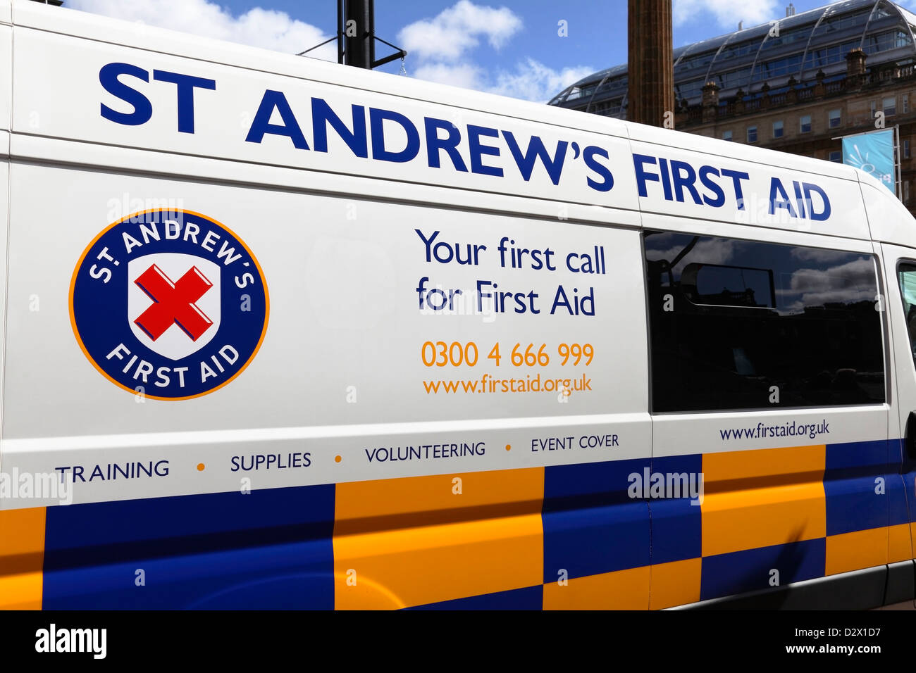 A St Andrew's First Aid van at an event, Scotland, UK - Stock Image